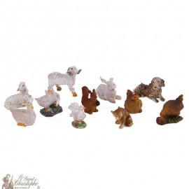 Animaux figurines crèche de Noël - 11 pc