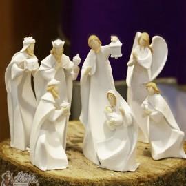 Crèche de Noël moderne blanche LED - résine