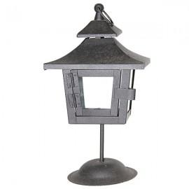 Lanterne métal noir sur pied -  27 cm