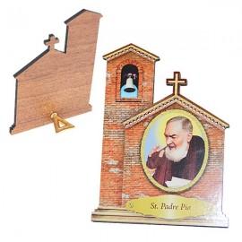 Cadre avec Padre Pio en forme d' Eglise